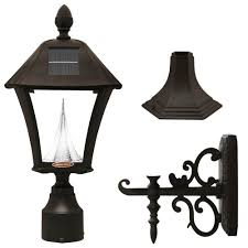 gama sonic baytown solar black outdoor post wall light with bright