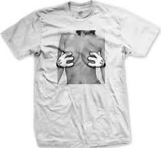 cartoon hand bra sexual funny mens t shirt