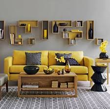Yellow Living Room Shelves With Unique And Custom Design