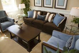 brown and blue living room decor with brown sofa home