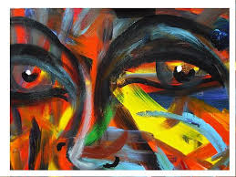 Gesicht By Acryl Power People Faces Abstract Art Painting