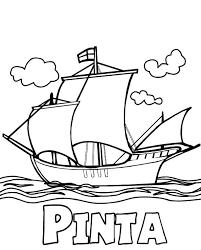 Columbus Fleet Pinta On Day Coloring Page
