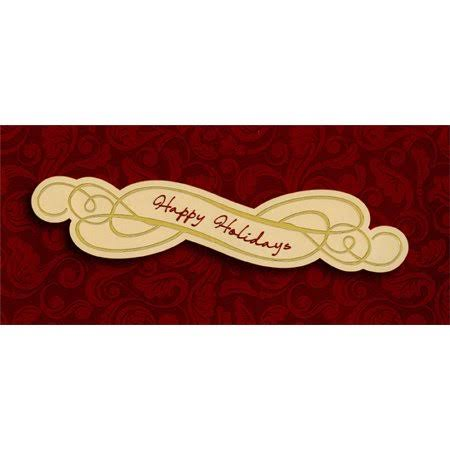 Designer Greetings Happy Holidays on Burgundy Swirls - Package of 8 Christmas Money / Gift Card Holders, Size: 7.5 x 3.4