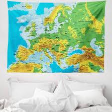 wandteppich aus weiches mikrofaser stoff für das wohn und schlafzimmer abakuhaus rechteckig polen hoch detaillierte karte europa