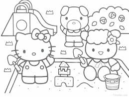 Christmas Kitty Coloring Pages Color For Hello Page Baby Free Kitt