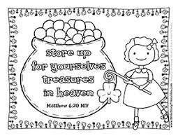 Treasures In Heaven Bible Verse Coloring Girl