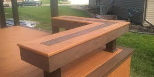 Wood Bench Designs Decks by Composite Deck Bench With Dark Inset Pattern Cedar Deck Designs