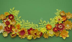 Download Paper Craft Flower Decoration Concept Border Green Background Stock Image