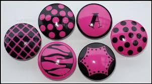 hand painted knob dresser drawer hot pink black monogram polka