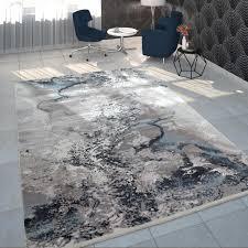 teppich wohnzimmer grau weiß blau polyacryl kurzflor modern marmor design grösse 160x230 cm