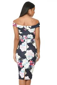 ax paris womens off shoulder floral print bodycon midi dress navy