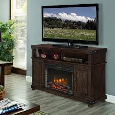 Media Electric Fireplace In Rustic Brown