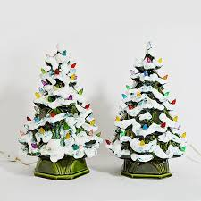 Mid Century Modern Lighted Ceramic Christmas Trees
