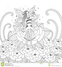 Fairy Girl Playing With Butterfly In The Flower Forest Design For
