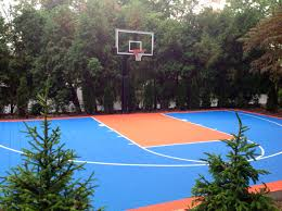 There's His Knicks Themed Half Court In Front Of His Hercules ... Backyard Basketball Court Multiuse Outdoor Courts Sport Sketball Court Ideas Large And Beautiful Photos This Is A Forest Green Red Concrete Backyard Bar And Grill College Park Go Green With Home Gyms Inexpensive Design Recreational Versasport Of Kansas 24x26 With Canada Logo By Total Resurfacing Repairs Neave Sports Simple Hoop Adorable Dec0810hoops2jpg 6 Reasons To Install Synlawn Small Back Yard Designs Afbead