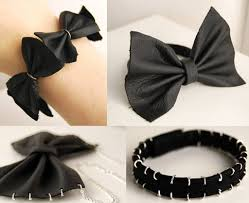 How To Make DIY Bow Leather Bracelet And Necklace Step By Tutorial Instructions