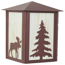 moose and tree outdoor light rustic outdoor wall lights and