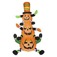 Halloween Airblown Inflatable Lawn Decorations by Shop Gemmy Whimsey Pumpkin Stack 7 51 Ft X 4 Ft Lighted Pumpkin