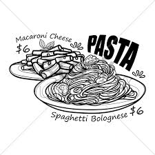 pasta menu title with price vector graphic