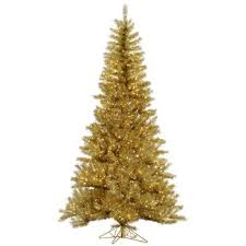 Tinsel 55 Gold Artificial Christmas Tree With 350 LED Single Colored Lights
