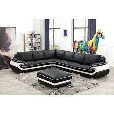 100 Living Room Table Modern Black And White Contemporary Real Leather Sectional Furniture Set With Ottoman