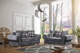 100 2 Sofa Living Room Venezia Grey Fabric 3 Seater Scatterback S