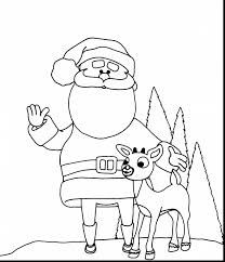 Extraordinary Santa And Reindeer Coloring Pages With Page Antlers