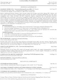 Bank Resume Format Banking Examples Investment Analyst Sample Of