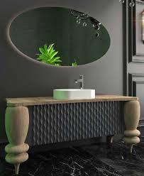 casa padrino luxus badezimmer set naturfarben grau weiß 1 waschtisch mit 2 türen und 1 waschbecken und 1 led wandspiegel luxus badezimmermöbel