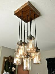 Rustic Style Chandelier Mason Jar Pendant Light W Hardwood Crate Canopy Square With