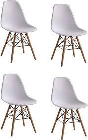 naturelifestore 4 x designer kunststoff stuhl polypropylen und ausbuchenholz wohnzimmerstuhl esszimmerstuhl bürostuhl weiß