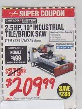 Harbor Freight Tile Saw 10 by Harbor Freight Coupons Ebay