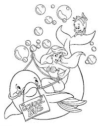 Ariel Rides A Dolphin Coloring Page