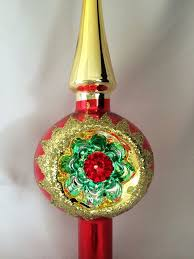 IOB Vintage German Glass Indent Tree Topper Christmas Ornament Red Gold Starburst Reflector