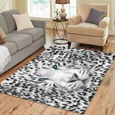 InterestPrint Wild Animal Tiger Print Area Rugs Carpet 7 X 5 Feet White Black Leopard Zebra