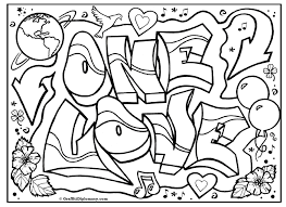 ONE LOVE Graffiti Free Coloring Page Printable And Love Book Pages