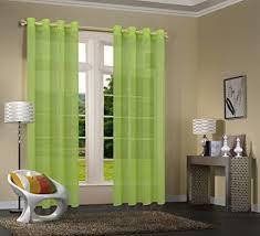 uni 20332cn 2er pack apfelgrün vorhang transparent gardinen set wohnzimmer voile vorhang ösenvorhang hxb 245x140 cm mit bleibandabschluß apfelgrün
