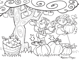 Apple And Pumpkin Picking Coloring Page