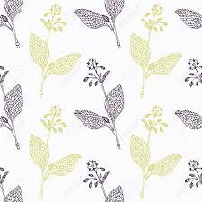 bourrache cuisine bourrache branche wirh fleurs stylisé noir et vert seamless pattern