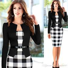 2015 Spring Women Office Dress Work Wear Ladies Vintage Patchwork Knee Length Bodycon Plaid Pencil Plus Size S XXL DK4429XL