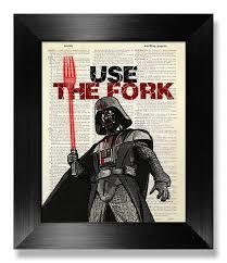 darth vader kitchen wall wars poster kitchen wall decor wars print wars wall fork eat sign quote print