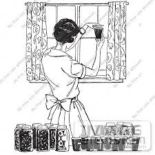 Clipart A Retro Housewife Canning Foods In Black And White Royalty Free
