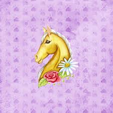 Click To See Printable Version Of Scrapbook Paper Design With Horse And Flowers Craft