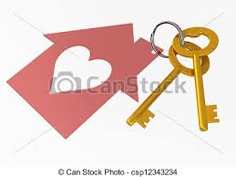Golden House Keys With Red Heart Shape Icon Illustration Isolated On White Background
