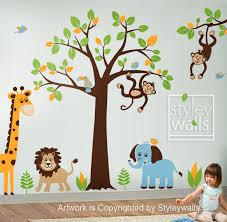 Lucias Room Children Wall Decal Safari Tree Jungle Animals HUGE Set Nursery Kids Playroom Vinyl Sticker Decor Baby Via