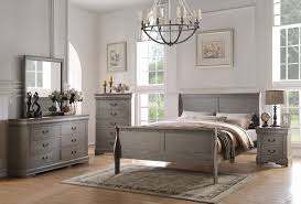 louis philippe 4pc king grey bedroom set 23857ek