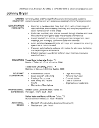 Sample Resume Objectives Criminal Justice Refrence Objective Examples 13 Charming Great