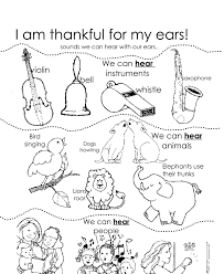 I Am Thankful For My Ears With Coloring Page
