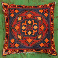 Tribal Red Navy Rust Decorative Pillow Cover Hand Embroidered Wool