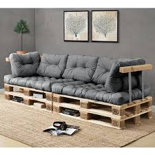 palette canapé en casa 1x coussin de dossier pour canapé palette gris